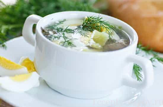рецепт щавелевого супа с яйцом